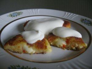 Virtų bulvių blynai su sūriu