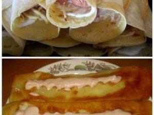 Lietiniai su dešrele ir sūriu