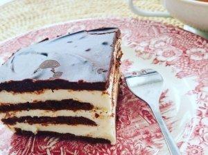 Labai skanus nekeptas varškės ir sausainių pyragas