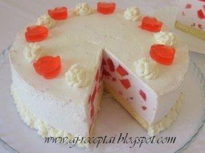 Super skanus tortas su jogurtiniu kremu ir žele gabaliukais