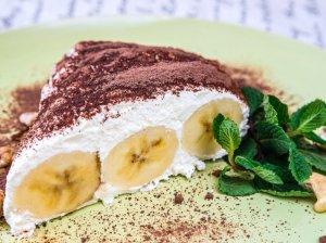 Akimirksnio pyragas su bananais ir maskarpone
