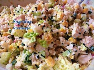 Gaivios vištienos ir ryžių salotos