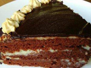 Šokoladinis kefyro biskvito tortukas su plikytu pieno kremu - pigus ir skanus!
