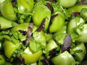 Rauginti žali pomidorai pagal gruzinišką receptą