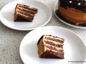 Šokoladinis kavos tortas su karameliniu maskarponės kremu