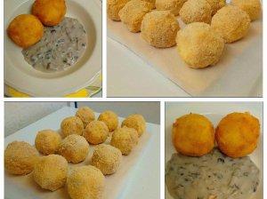 Virtų bulvių kroketai su grybų padažu