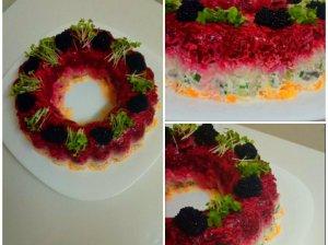 Silkės tortas pataluose su daržovėmis