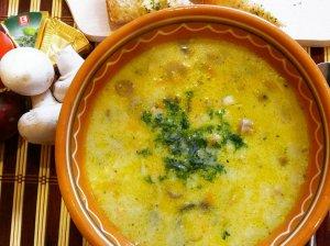 Pievagrybių sriuba su tepamu sūreliu