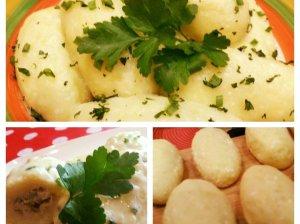 Šilkiniai virtų bulvių cepelinai su mėsos įdaru