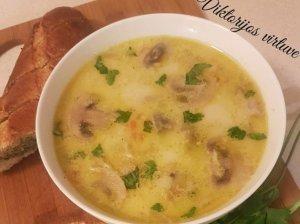 Pievagrybių sriuba su vištiena ir sūreliu