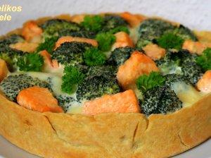 Pyragas su lašiša ir brokoliais