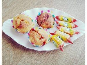 """Varškiniai keksiukai su saldainiais """"Karvutė"""""""