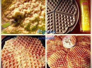 Bulviniai blynai čirvinių blynų vaflių keptuvėje