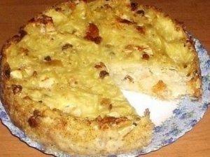 Bulvių ir varškės apkepas su lašinukais
