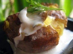 Keptos bulvės su lupenomis