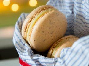 Mandarininiai macarons sausainukai