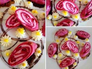 Rožiniai lietiniai su varške