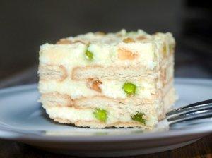 Nekeptas sausainių tortas pyragas su varške