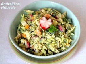 Greitos kopūstų salotos su kiaušiniais