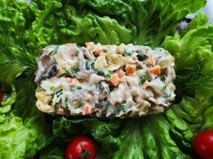 Silkės salotos su morkomis ir grybais
