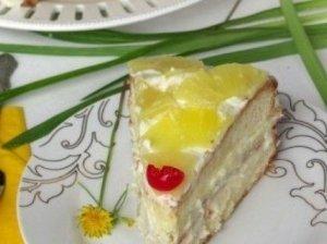 Ananasų tortas su vaniliniu kremu