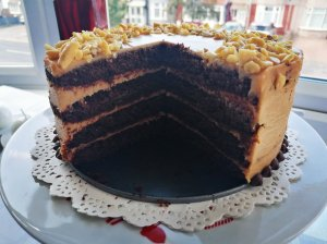 Karamelinis kavos tortas su maskarponės kremu