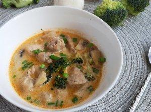 Vištienos sriuba su brokoliais ir kokosų pienu