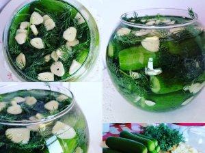 Greitai mineraliniu vandeniu paraugti agurkai