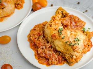 Pomidorinė vieno puodo vištiena su ryžiais