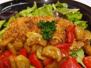 Traškūs vištienos kepsneliai su sezamo sėklomis