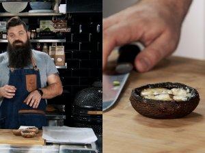 Kepti Portobello grybai su pelėsiniu sūriu