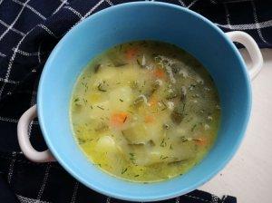 Raugintų agurkų sriuba su perlinėmis kruopomis