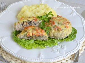 Faršo lizdeliai su sūriu ir daržovėmis orkaitėje