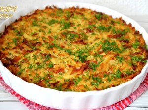 Sotus bulvių apkepas su mėsyte ir sūriu