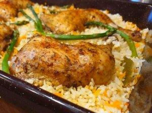 Vištienos ketvirčiai su ryžiais orkaitėje