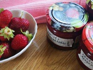 Braškių ir rabarbarų džemas žiemai