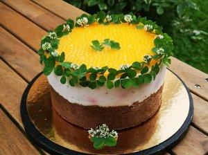 Nekeptas kefyro tortas su braškėmis