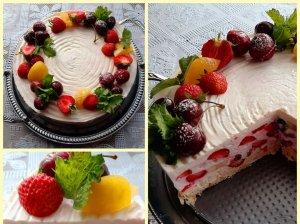Nekeptas sausainių tortas su grietine