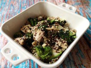 Pievagrybiai su brokoliais ir bolivinėmis balandomis