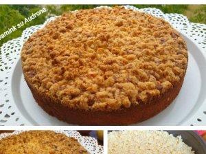 Drėgnas obuolių pyragas su trupininiu viršumi