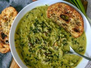 Pievagrybių sriuba su ryžiais ir kokoso pienu