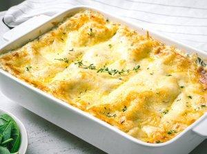 Lazanija su varške, špinatais ir sūriu