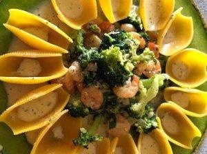Makaronai su krevetėmis ir brokoliais