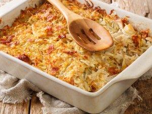 Bulvių apkepas su vištiena ir šonine
