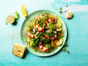 Gaivios salotos dievinantiems krevetes
