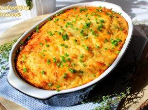 Sotus bulvių apkepas su malta mėsa, voveraitėmis ir sūriu