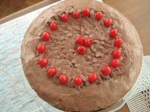 Šokoladinis varškės pyragas su desertinėmis vyšnaitėmis
