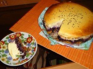 Varškės tortas su mėlynėmis