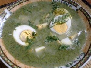 Špinatų sriuba su kiaušiniais