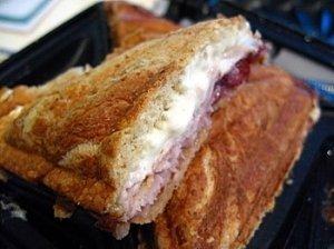 Panini sumuštinis su kalakutiena, bree sūriu ir spanguolėmis